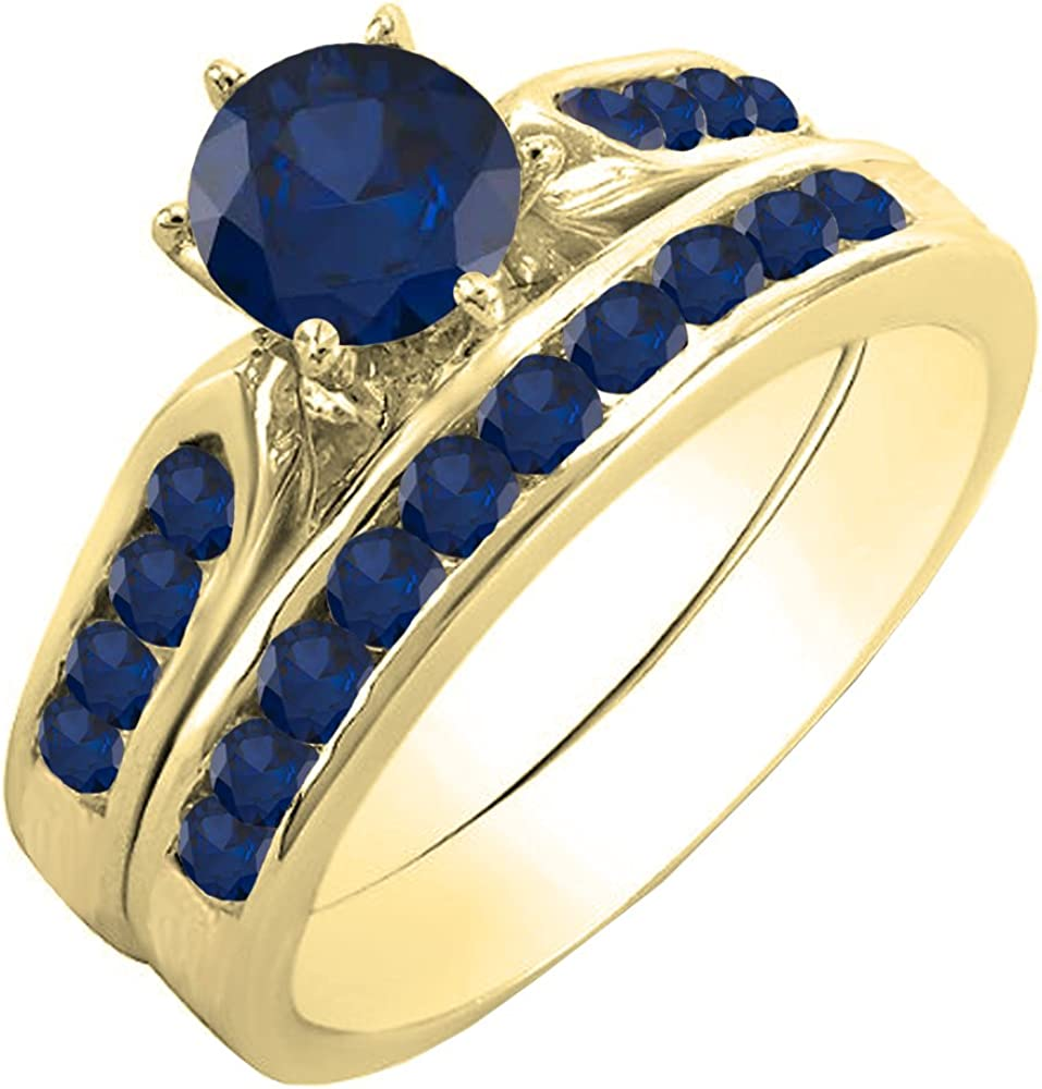 Dazzlingrock Collection NEW before selling Al sold out. 1.00 Carat ctw Round Sap Gold Blue 14K