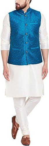 Royal Sojanya Hommes's Jackquard Silk Designer Nehru veste XX-grand Sea vert
