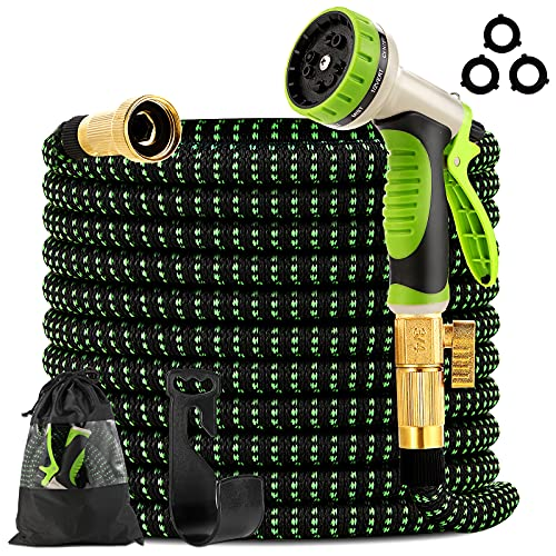 """Takuvan Expandable Garden Hose 100ft - Expanding Water Hose with 9 Way Spray Nozzle and 3/4"""" Solid Brass Fitting - 4 Layers Latex and Strength 3750D Flexible Lightweight Outdoor Yard No Kink Hose Pipe"""