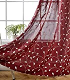 MIUCO Floral Embroidered Semi Sheer Curtains Faux Linen Grommet Curtains for Living Room 52 x 63 Inch 2 Panels, Burgundy