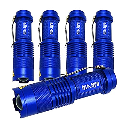 NIANPU 5 Pack Mini Zoomable Cree 7W 350LM Q5 Tactical Flashlight Torch Lamp Light with 3 Mode Adjustable Brightness Power by AA/14500