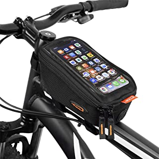 """Ibera Bicycle Top Tube Phone Bag for 5"""" - 6"""" Screen Size, Bike Frame Strap Attachment Mount"""