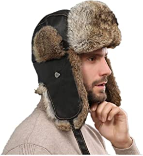 LVCOMEFF Men Real Sheep Leather Rabbit Fur Bomber Hat with Earflap Russian Hat  Warm Brown 9fdd94510383