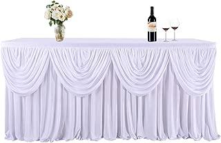 Best white polyester table skirt Reviews