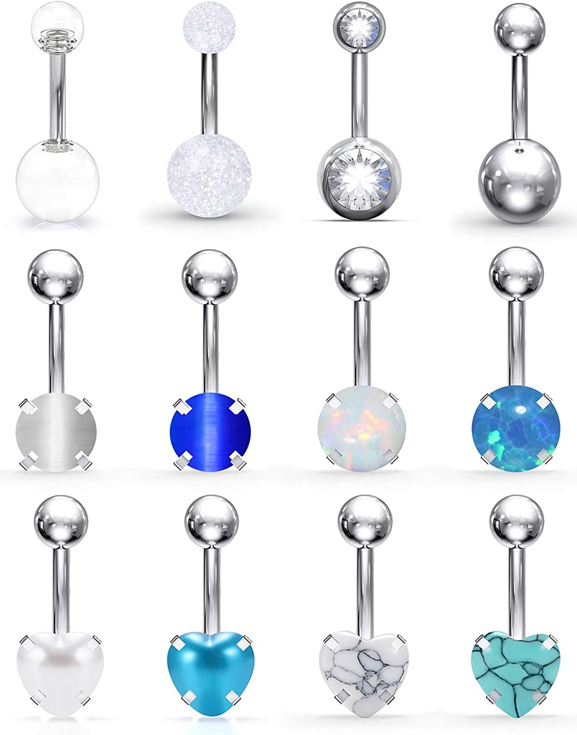 SCERRING Belly Button Rings 14G Stainless Steel Navel Belly Earring Heart Opal Navel Ring Barbell Body Piercing Jewelry 12PCS