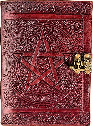 Urban Leather Book - Brown Pentagram Star Journal - Handmade Vintage Sketchbook Writing Notebook, Unlined