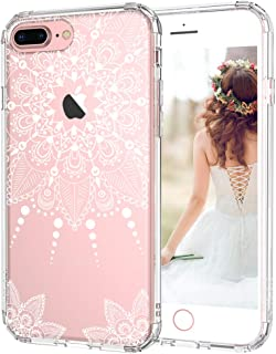MOSNOVO iPhone 7 Plus Case, iPhone 7 Plus Clear Case, White Henna Mandala Floral Lace Clear Design Transparent Plastic Back Case with TPU Bumper Protective Case Cover for iPhone 7 Plus