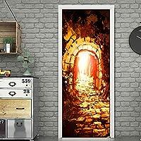 Azbza ステッカー子供用ドア 抽象的な岩の洞窟 83 x 204cm 家の装飾壁アート壁画デカールリビングルーム保育園レストランホテルカフェオフィスの装飾取り外し可能な粘着ステッカーマルチカラー
