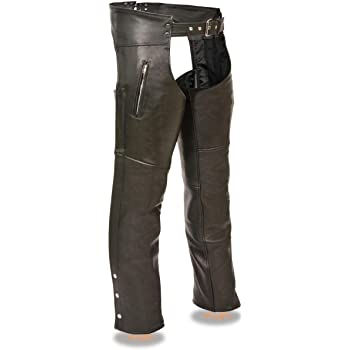 Milwaukee Patch Pocket Leather Chaps Black, 4X-Large
