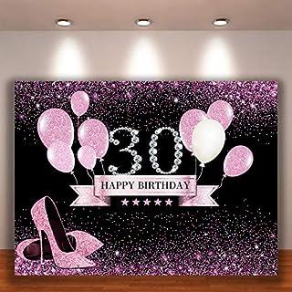 Crefelicid Fotohintergrund zum 30. Geburtstag, rosafarbene und schwarze Luftballons zum 30. Geburtstag, Fotohintergrund für Erwachsene und Frauen, für Party Dekorationen