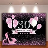 Crefelicid 7x5ft 30th Birthday Backdrop Pink and Black Bolloons 30 Birthday Photography Background Adults Women Bday Cake Table for Party Decorations Favors