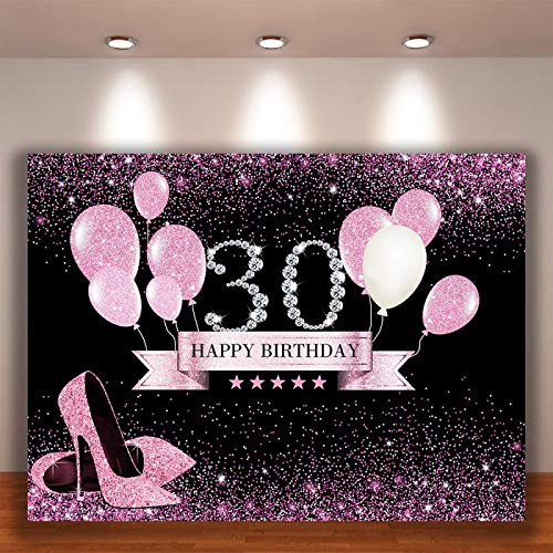 Crefelicid 7x5ft 21st Birthday Backdrop Pink and Black Bolloons 21 Birthday Photography Background Adults Women Bday Cake Table for Party Decorations Favors