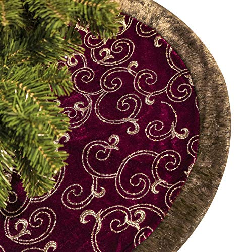 Valery Madelyn 48 inch Luxury Burgundy and Gold Christmas Tree Skirt, Themed with Christmas Ornaments (Not Included)