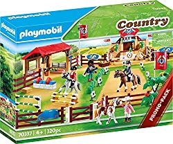 Play fun for little horse fans: Playmobil Large Equestrian Tournament with animals, figure and other detailed accessories Four figures, three horses, accessories for show jumping, dressage and western riding etc., can be combined with Playmobil Count...