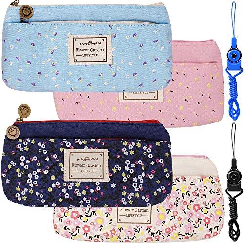 4 Pack Blumen Blumensegeltuch Kugelschreiber Bleistifttaschen Taschen, FineGood Schreibwaren Beutelhalter mit doppelten Reißverschlüssen für Schulstudenten Kinder - Dunkelblau, Hellblau, Rosa, Sahne