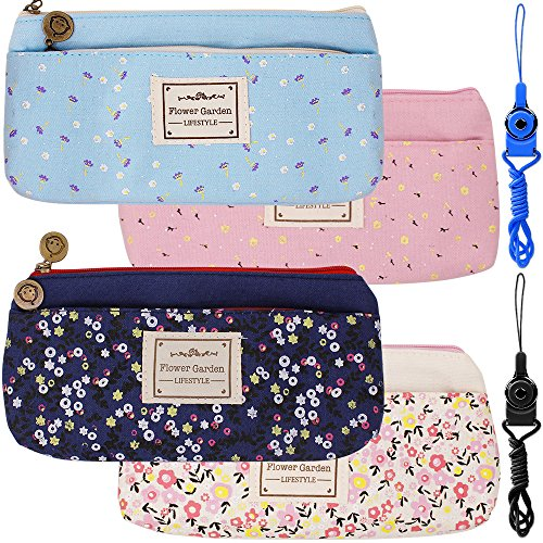 4 paquetes de flores florales Canvas Pen lápiz bolsas, FineGood papelería bolsas con doble cremallera para estudiantes la...