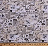 Cotton Vintage Route 66 Map Newspaper Print Road Signs Roads Road Trip Travel Cotton Fabric Print by The Yard (C7529)