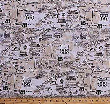 Cotton Vintage Route 66 Map Newspaper Print Road Signs Roads Road Trip Travel Cotton Fabric Print by The Yard  C7529