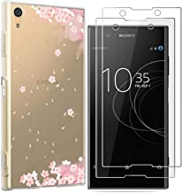 Sony Xperia XA1 Plus Case with 2 Pack Glass Screen Protector Phone Case for Men Women Girls Clear Soft TPU with Protective Bumper Cover Case for Sony Xperia XA1 Plus-Cherry Blossoms