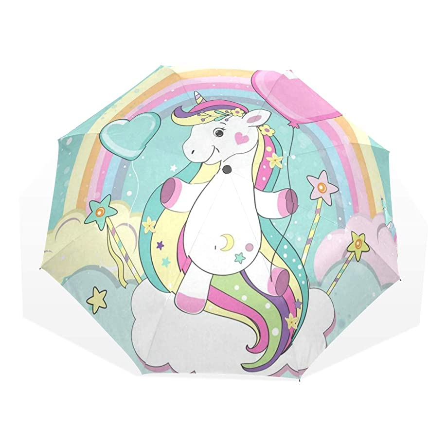 Umbrella Rainbow Magic Unicorn Balloon Clouds Folding Sun Protection Anti-UV Umbrella Windproof Lightweight for Men/Women