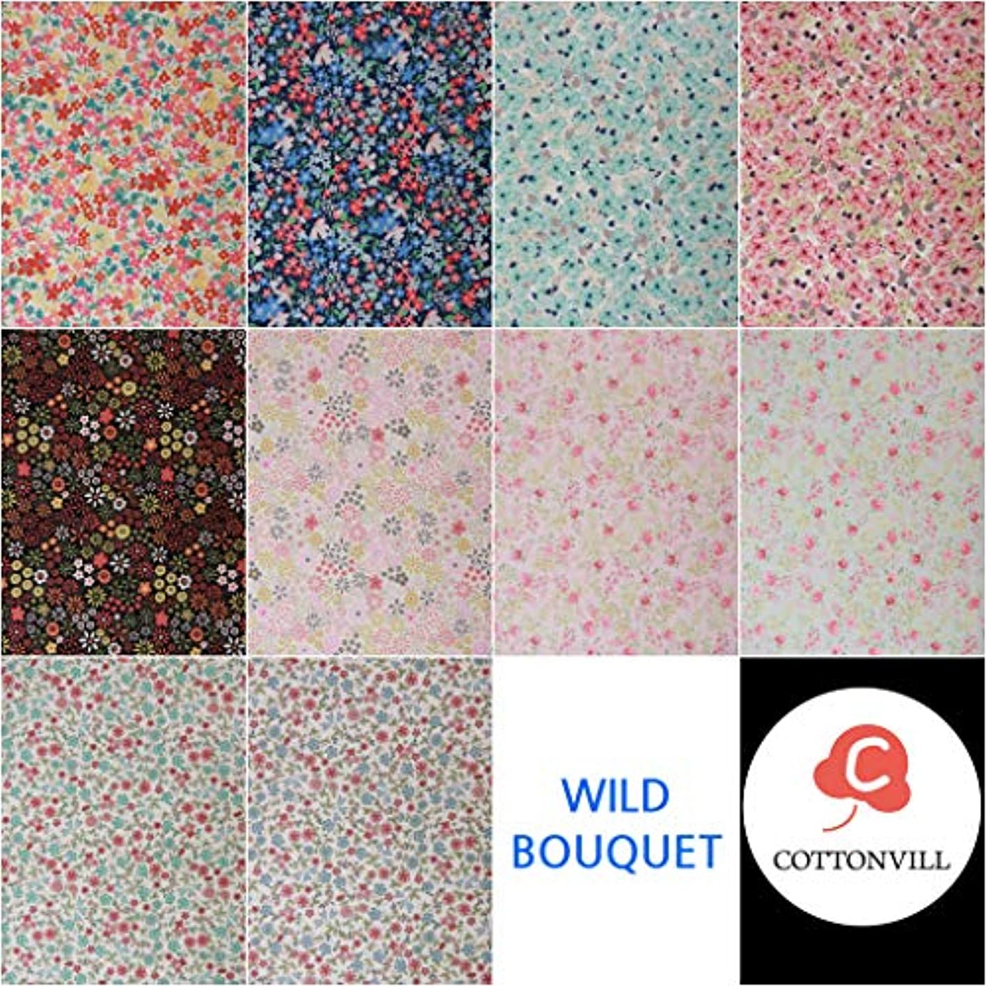 COTTONVILL Fat Quarter Bundle 10pcs Beautiful Flowers Pattern Quilting Fabric (Wild Bouquet) ryzorhxhlpi496