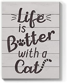 Geeignet Quotes Wall Art Inspirational Gray Canvas Painting Rustic Picture Cat Lover Prints Motivational Sayings Artwork f...