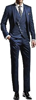 Suit Me Men's 3-Piece Suit Slim Fit Wedding Party Tuxedo Suit Jacket Vest Trousers