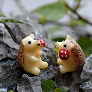 JHFUH 2 Pcs Mini Cute Hedgehog with Mushroom Miniature DIY Hand-Painted Ornament Home Living Room Decoration Great Gift Options for Friend