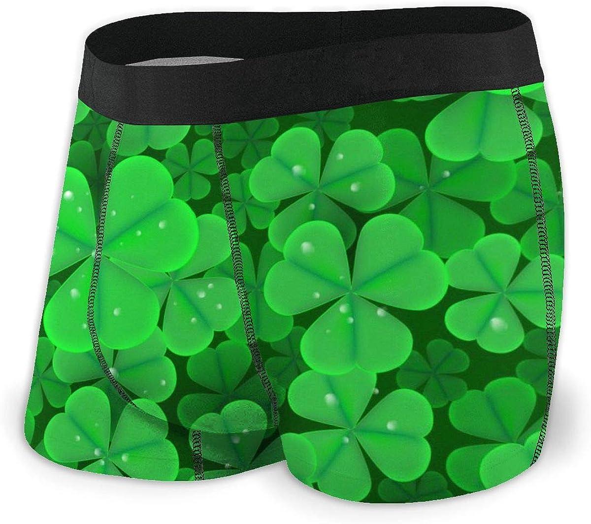 Mens Boxer Briefs St. Patrick's Day Clover Boys Trunks Underwear Short Leg Breathable Man