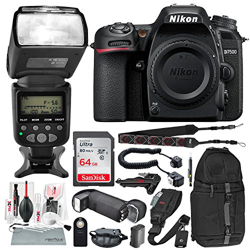 Nikon D7500 DSLR Camera (Body Only) and AF Power Zoom Flash Bundle with Heavy-Duty Flash Cord + 64GB + Replacement Battery + Deluxe Backpack + More