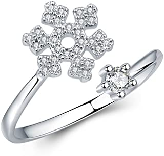 JczR.Y Korean Style Snowflake Ring Snow Adjustable Open Crystal Jewelry for Women Fashion Jewelry