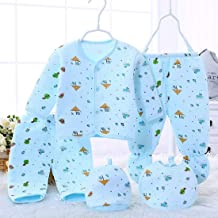 BENAVJI New Born Baby Winter Wear Keep Warm Cartoon Printing Baby Clothes 5Pcs Sets Baby Boys Girls Unisex Baby Fleece/Falalen Suit Infant Clothes 0-6 Months (Green)