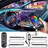 LivTee 12V Interior Car Lights, Newest Two-Line Design 4pcs 48 LED Multi DIY Color Music Under Dash Car Lighting Waterproof Kits with Wireless Remote & APP Control, Car Charger Included