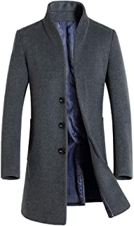 Men's Wool Trench Coat Slim Fit Single Breasted Overcoat Business Down Jacket Winter Topcoat