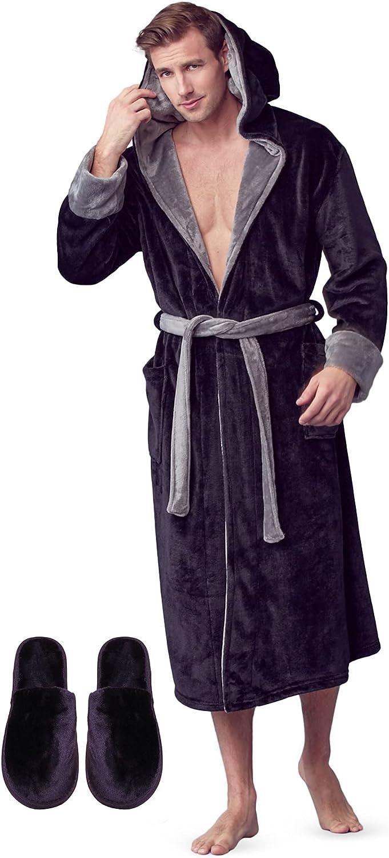LOTUS LINEN Mens Plush Robe - BOSS - Men Bathrobes Collection - Soft Hooded Robes for Men