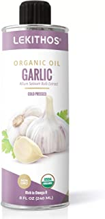 Lekithos Certified USDA Organic Garlic Oil Macerate: 8 fl. oz, Olive Oil Infused with Garlic for Cooking, Dressings, Bread