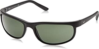Ray-Ban Men's RB2027 Predator 2 Rectangular Sunglasses, Black/ Matte Black/Green, 62 mm