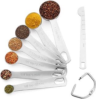 Set Cuilleres Doseuses en acier inoxydable 8 pièces avec règle de mesure Lot de Tasses et cuillères à mesurer pour Cuisine...