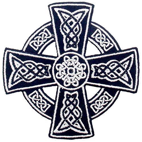 Celtic Cross Irish Goth Druids Wicca Pagan Patch Embroidered Applique Iron On Sew On Emblem