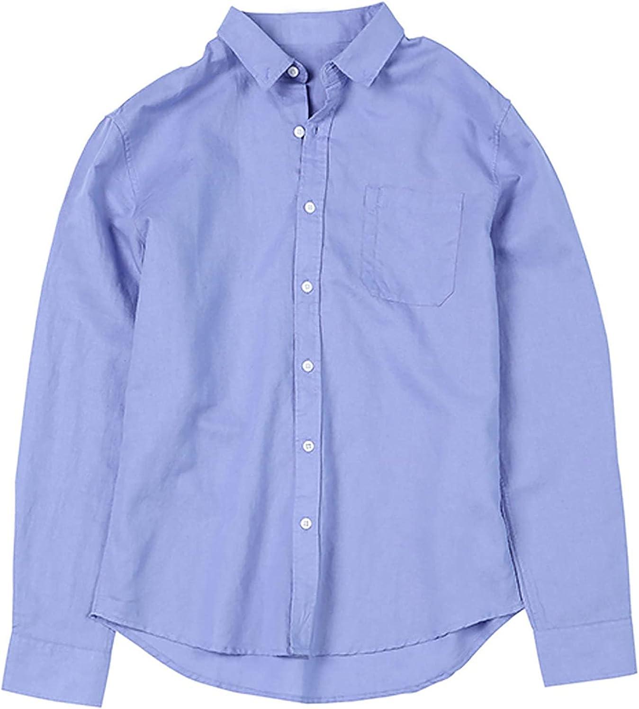 R-cors Men's Regular Fit Long Sleeve Pocket Shirt Cotton Linen Henley T Shirt Casual Button Down Shirts
