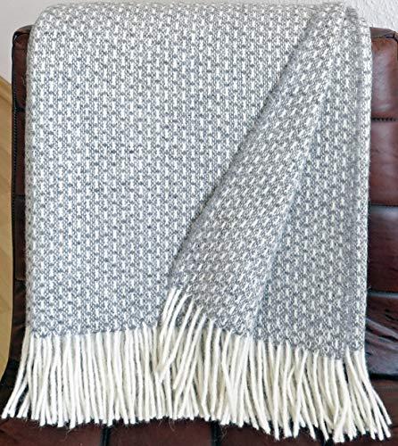 Plaids & Co Manta 100% lana virgen de Nueva Zelanda, manta de lana virgen con flecos, 140 x 200 cm, manta de lana, manta para salón, colcha, manta para sofá (Doris), color gris