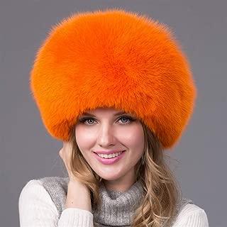 Guomao Fox Fur Hat Female Winter Hat Hat Whole Piedmont Ancient Leather Top Thick Warm Ear Cap Princess Hat (Color : Orange)