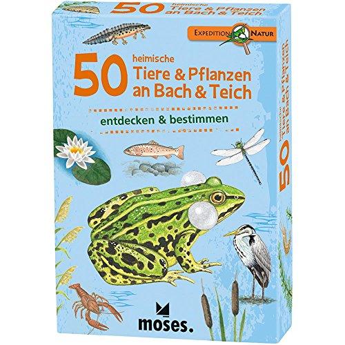Moses Expedition Natuur 50 inheemse dieren en planten op bas en vijver, toegangskaarten in set, met spannende kwaliteitsvragen