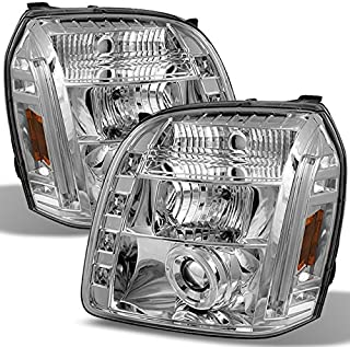 For GMC Yukon Denali SUV Chrome Clear Dual Halo LED Projector Headlights Front Lamps Replacement Pair