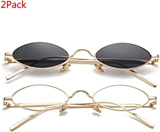 Vintage Small Oval Sunglasses for Women Men Hippie Cool...