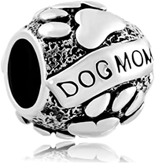 Paws Animal Dog Mom Silver Plated Charms Beads for Bracelets