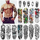 HOWAF 16 Sheets Large Full Arm Temporary Tattoo Sleeve Tattoos Fake Body Art Lion Tiger Wolf Rose Pumpkin Skull Halloween Arm Chest Shoulder Tattoo Black tattoo Stickers for Man Women Adults
