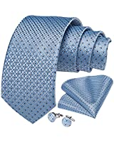 DiBanGu Men's Silk Tie Pocket Square Blue Woven Tie Handkerchief Cufflink Set Business Wedding