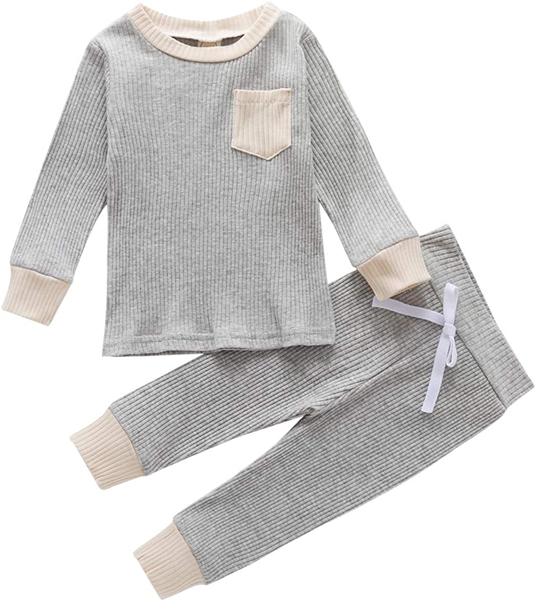 FUFUCAILLM Infant Unisex Baby Clothes Outfits Fall/Winter Sweatshirt with Pants Set 2 Piece Fall Outfit Pajamas Set