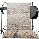 Dudaacvt 10x10ft Antique Brick Wall Photography Backdrops Wooden Floor Photo Studio Background for Wedding/Party/Photography/Curtain/Birthday/Christmas/Prom/Other Event Decor MQ0051010